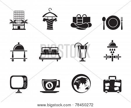 Silhouette Hotel, motel and holidays icons