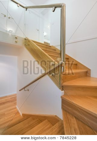 Timber And Chrome Staircase