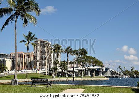 Waterway And Bridge In Fort Lauderdale Florida