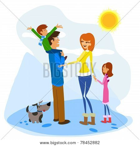 Family Enjoying a Winter Day