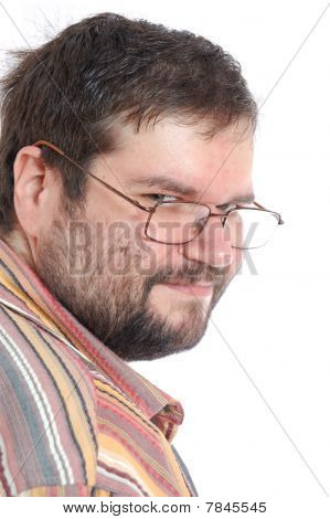 Pensiveoverweight Man With Glasses