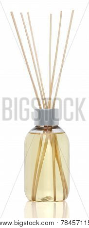 Spa aromatherapy on white. Vanilla oil diffuser isolated poster