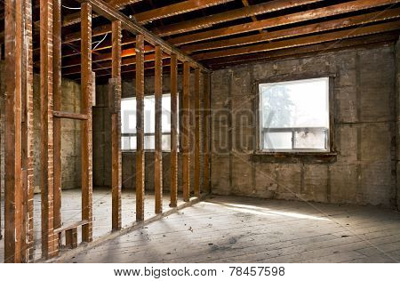 Interior of a house under gut renovation at construction site poster