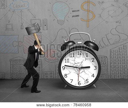 Businessman Using Sledgehammer Hitting Alarm Clock Broken Glass With Doodles