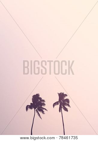 Twin Retro Palm Tree Silhouettes