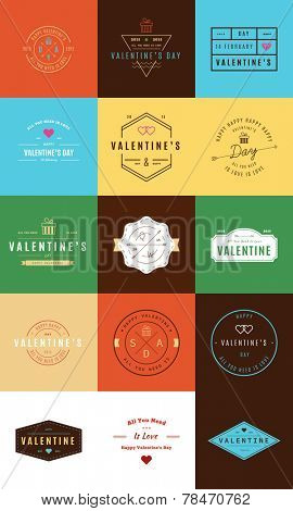 Happy Valentine's Day. Trendy Retro Vintage Insignias