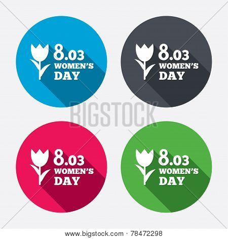 8 March Women's Day sign icon. Flower symbol. Circle buttons with long shadow. 4 icons set. Vector poster