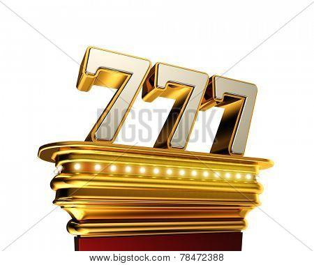 Number 777 on a golden platform with brilliant lights over white background
