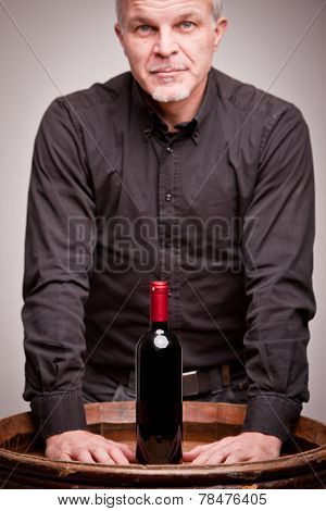Proud Wine Maker Man With A Bottle