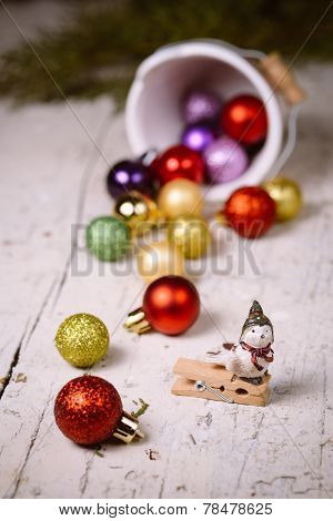 Porcelain Bucket With Colorful Baubles For Christmas And New Year Decoration