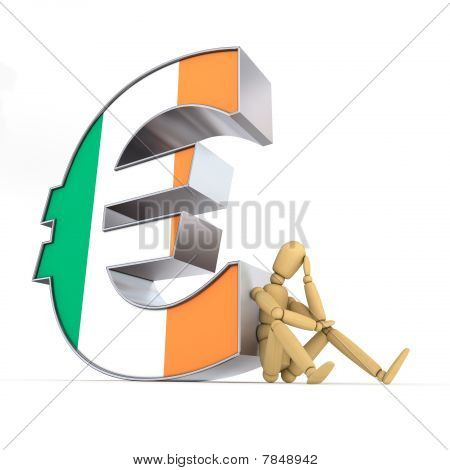 Doll Sitting At Irish Euro Sign