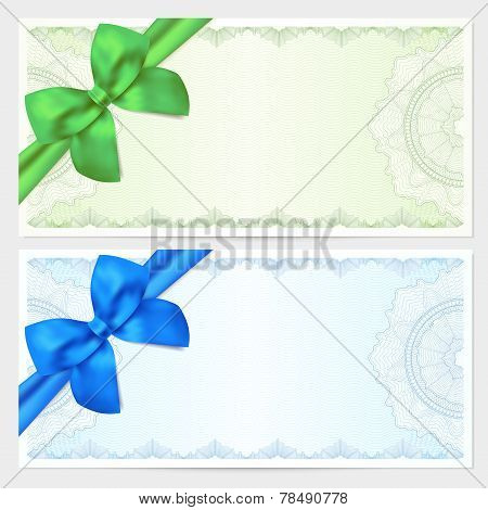 Gift certificate, Voucher, Coupon template with bow