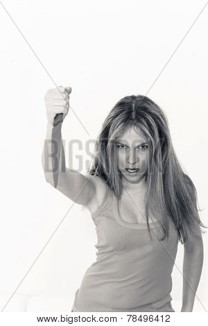 killer woman with knife on a white background
