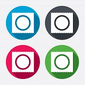 Condom in package safe sex sign icon. Safe love symbol. Circle buttons with long shadow. 4 icons set. Vector poster