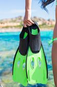 Diving goggles, snorkel and snorkling fins at woman hands poster