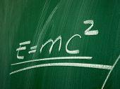 Einstein formula of relativity on school blackboard poster