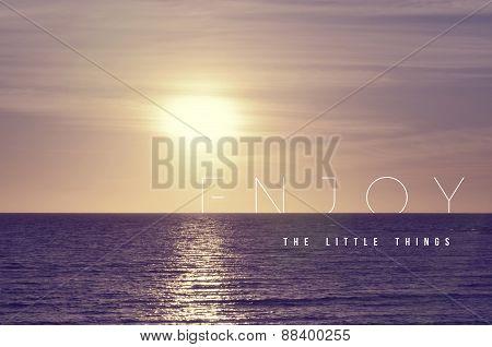 Enjoy Quote Concept Summer Sunset Background