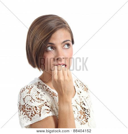 Nervous Pensive Woman Biting Nails