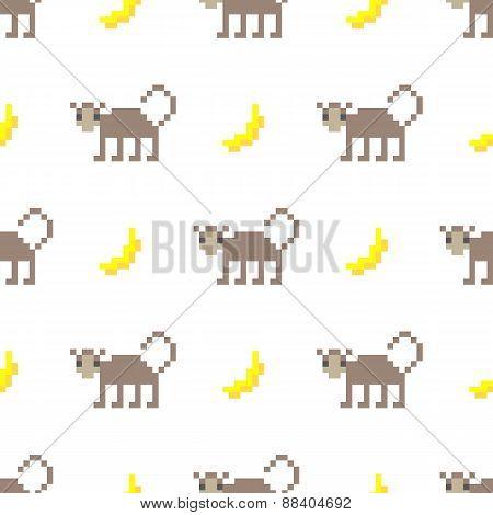 Cute pixel art monkey and banana seamless pattern