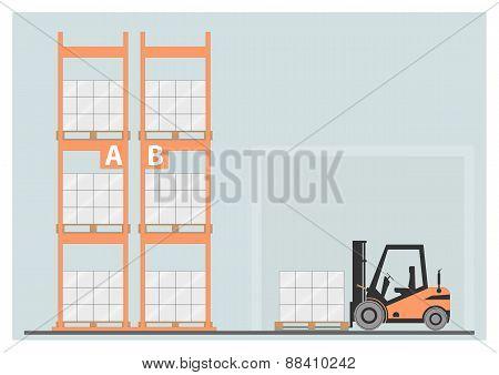 Pallet racking. Vector illustration. EPS 10. Opacity poster