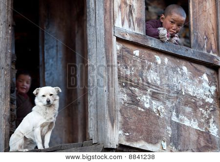 Portrait Of Two Tibetan Boys With White Dog