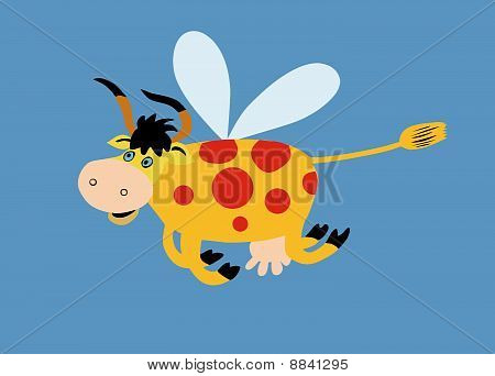 vector facetious drawing flying cows on  blue background