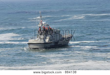 us coast guard boat in rescue operation off california coast poster