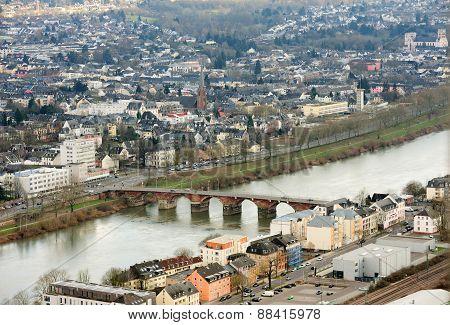 Mosel River, Romerbruke, Roman Bridge In Trier, Treves, Germany