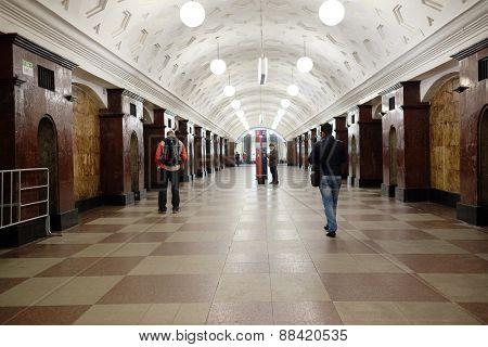 MOSCOW, RUSSIA  -  APRIL 12, 2015: Sokolnicheskaya line - the first line of the Moscow metro. Station of the Moscow metro station