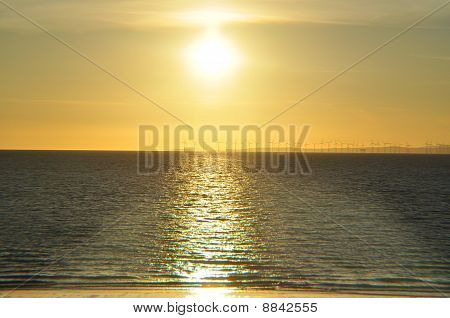 Sunset over the Irish sea,Maryport,Cumbria