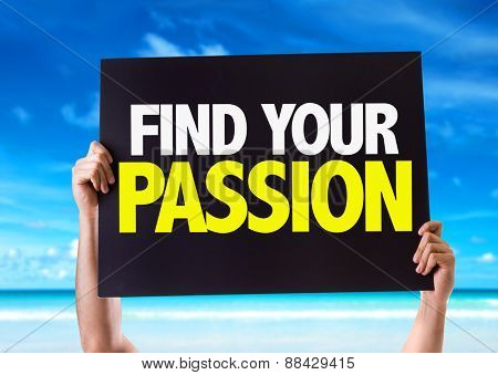 Find Your Passion card with beach background