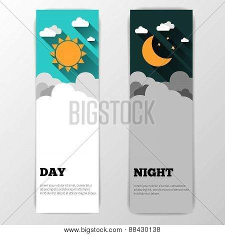 Day And Night Vector Banners Isolated