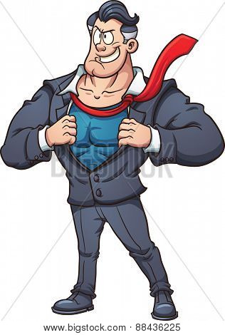 Cartoon businessman revealing superhero costume. Vector clip art illustration with simple gradients. All in a single layer.