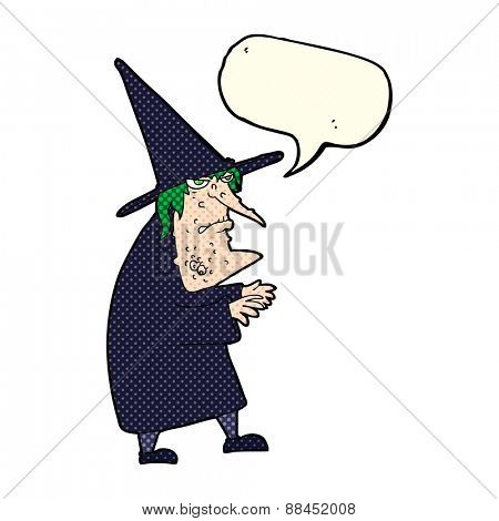 cartoon ugly old witch with speech bubble poster