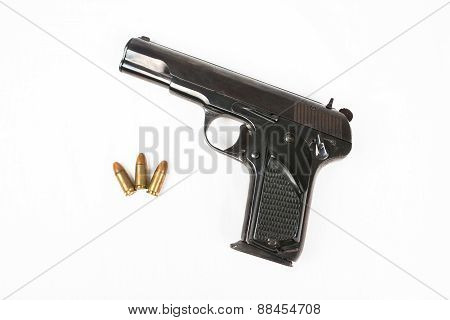 Semi-automatic 9Mm Gun Isolated On White Background