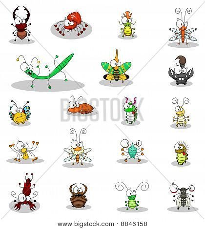 Some cartoon insects (a butterfly, a fly, an alligator bug, caterpillars, a stag beetle, a doodlebug, ant lions, a mole cricket, a stick insect, a cockroach, spiders, a cricket, beetles, a scorpion). poster