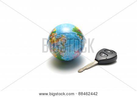 Car Key And Earth Ball