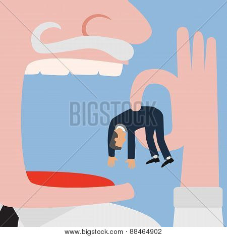 Bigger Businessman Eating Small Businessman