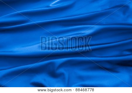 Soft Velvet Piece Of Blue Fabric With Folds