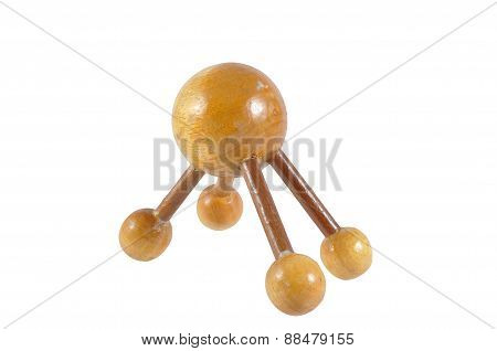 Wooden ball massage for relieve pain points clipping path included.