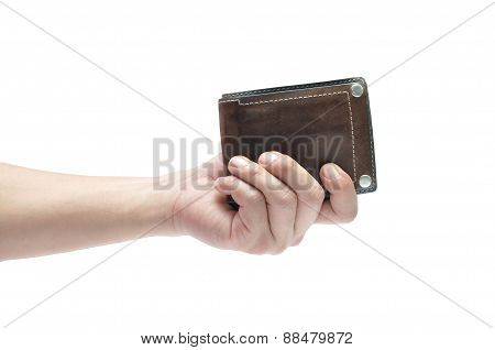 Man hand holding leather men wallet isolated on white background clipping path included.