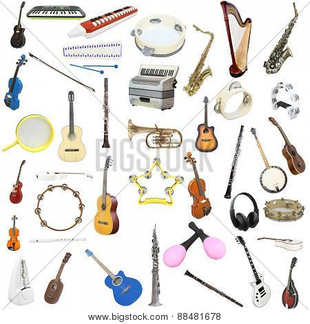 The image of music insyruments isolated under a white background