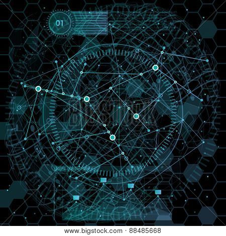 infographic elements. futuristic user interface. Abstract polygonal space low poly dark background with connecting dots and lines. Vector science Polygonal background. Futuristic HUD background.