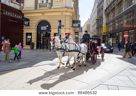 City center Street view and fiacre, fiaker  in Vienna