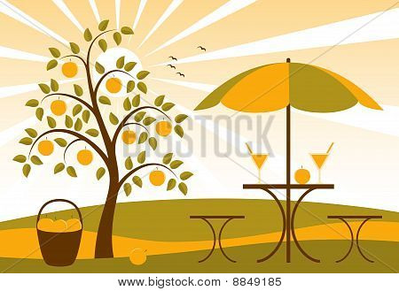 Fruit Tree And Fruit Juice