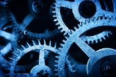 Grunge gear, cog wheels background. Concept of industrial, science, clockwork, technology. Blue tint. poster