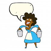 cartoon milkmaid carrying buckets with speech bubble poster