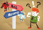 Great illustration of Retro styled Corporate Guy caught up in a Catch-22 battle of wills with both a devil and an angel helping him to decide at Heaven and Hell Signpost. poster