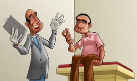 Doctor And Patient talking about exam, the doctor looks happy with the result of it