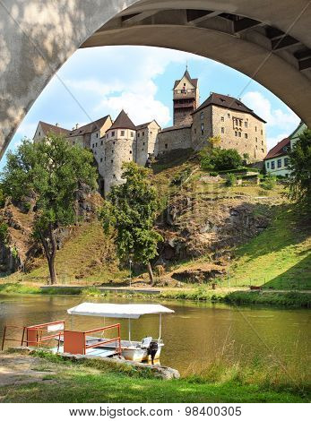 Gothic castle Loket nearby Karlovy Vary spa in Czech Republic. Central Europe.